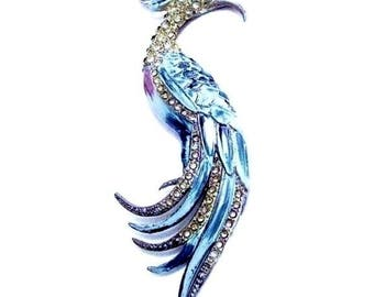 Bird of Fantasy Enamel and Rhinestone Figural Brooch c.1930s