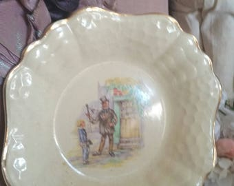 antique bon bon dish, j and g meakin england, charles dickens, mr micawber, david copperfield, circa 1930
