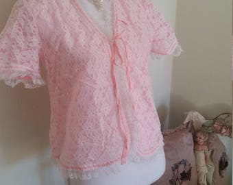 vintage bed jacket, frothy lace, white and bright pink, pretty feminine, vintage lingerie