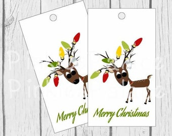 Christmas Tags Reindeer Tags Gift Tags Favor Tags To From Tags Set of 10 - T623