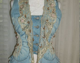 Steampunk Style Denim Ruffle Waistcoat Vest Beads Lace Flowers Pearls Rosettes Fitted Size S/M