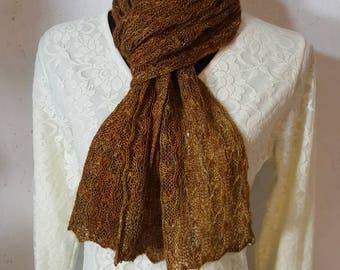 Suri Alpaca Scarf, Lace Knit Scarf, Handmade Suri Alpaca Scarf, Home Grown Alpaca, Hand Dyed Olive
