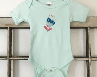 Emme Floral Onesie // Baby Girl Infant Onesie // Embroidered Kid Top // Baby Gift // Modern Girl's Clothing // Boho Baby