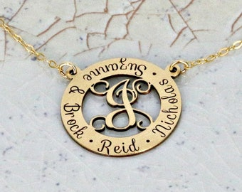 "Personalized Mother Necklace • Monogram Necklace • 1"" personalized loop necklace w monogram initial • Eternity loop with monogram necklace"