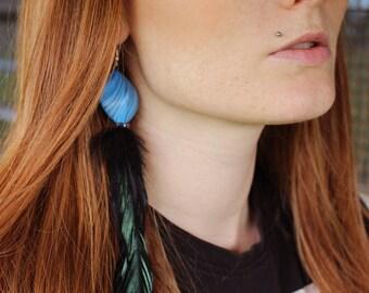 70's style Single turquoise & feather black tassel earring Festival gypsy