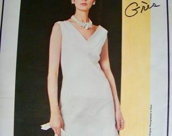 Grès Designer * RARE * 1960s Vogue Paris Original Pattern 1507 *  GLAM  One Piece Cocktail  Dress   * Size 18, bust 38 Vogue Label