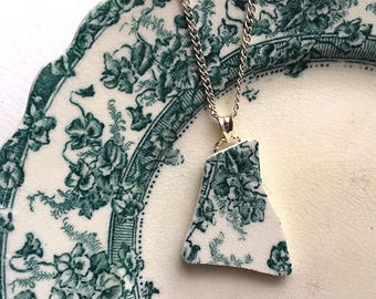 Broken china jewelry - china pendant necklace with chain - antique china shard pendant - teal green transferware - made from a broken plate