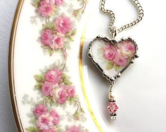 Broken China Jewelry - china heart pendant necklace - antique pink roses with crystal beads, pearl, made from a broken china plate