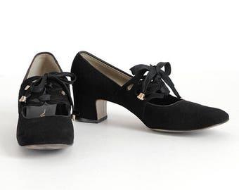 1960s vintage Carlton black suede mary jane shoes * SH069