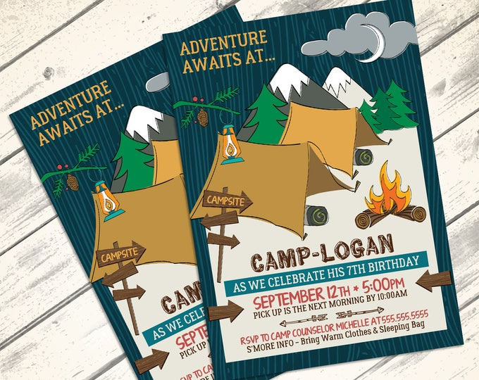 Camping Party Invitation - Camping Birthday Party, Woodland, Glamping, Fishing  | DIY INSTANT Download PDF Printable
