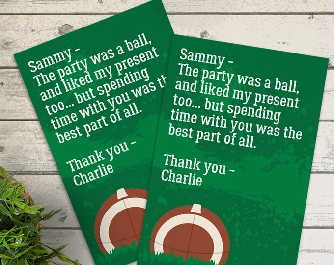 Football Party Thank You Card - Football Birthday, Tailgate, Super-Bowl, Bowl Party | Editable Text - Instant Download PDF Printable
