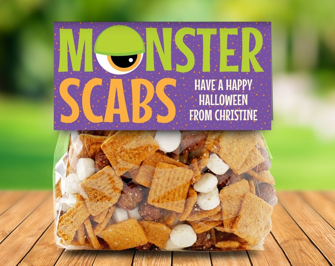 "Monster Scabs Treat Baggie Toppers - Halloween Party, Halloween Favor, 4"" Treat Bag Topper 