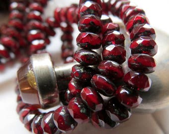 NEW GARNET GEMS . Czech Picasso Glass Beads (30) 3 by 5 mm