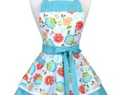 Womens Ruffled Retro Apron with Pocket in Aqua Orange Floral Flirty Kitchen Gift for Her with Personalized Monogram Option (DP)