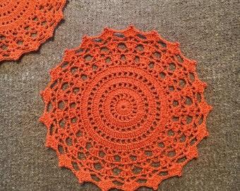 D-100. Crochet Orange Doily Drink Coasters Hand crocheted  Lace MANDALA Crochet Round Doily Women's day Valentine's day