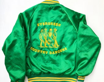 Vintage Evergreen Country Dancers Satin Jacket