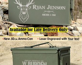 Mens Hunting Ammo Box, Storage Box, Browning Deer Antler, New Personalized .50 cal Ammo Can, Personalized Hunting