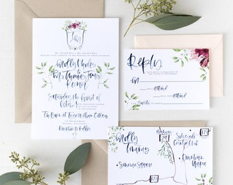 The Molly - Navy Watercolor Calligraphy Wedding Invitation Suite with Custom Crest