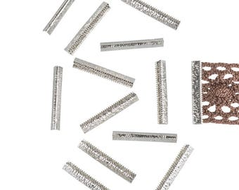 150 pieces  38mm or 1  1/2 inch - Platinum Silver No Loop Ribbon Clamp End Crimps - Artisan Series