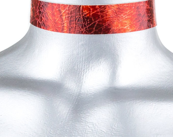 Red Storm Leather Choker - 20mm - Adjustable
