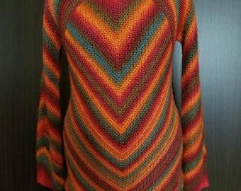 Handknitted acrylic rainbow sweater