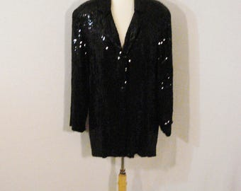 Black Sequine Jacket Lew Magram New York Glam Chic Sophisticated Evening Wear M