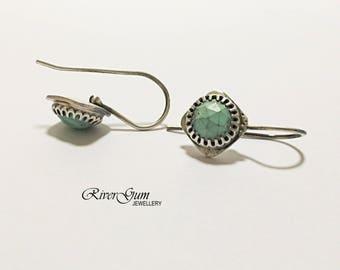 Turquoise Earrings, Tiny Turquoise Drop Earrings, Small Gemstone Earrings, Sterling Silver Earrings, Metalsmith, RiverGum Jewellery