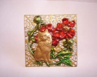 Cat Brooch Multi Gold Tone