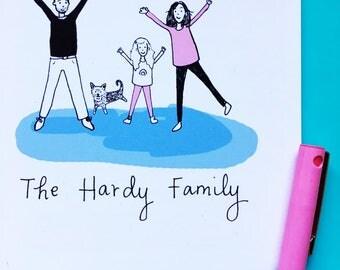 Personalised Mini Family Portrait Illustration - Illustrated Art Print