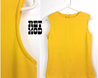 Fun Vintage 60s 70s Bright Yellow Sleeveless Top - AS IS
