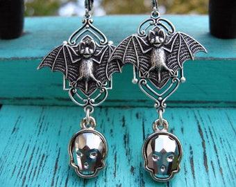 Swarovski Skull Dangle Earrings with Vampire Bats