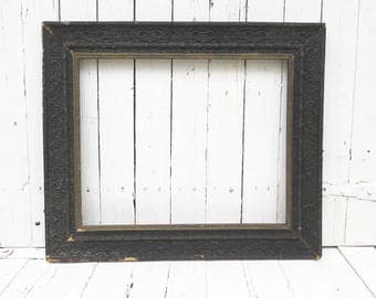 Antique Black Frame, Old Black Frame, Vintage Picture Frame, Black Picture Frame, Ornate Detailed Frame, Cottage Chic Decor, French Cottage