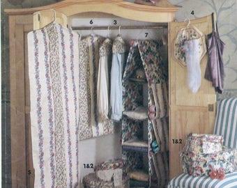Closet Accessories Sewing Pattern Simplicity 7708 UNCUT Hat Band Boxes, Hanger Cover, Lingerie Bag, Garment Bag,  Hanging Shelves Home Decor