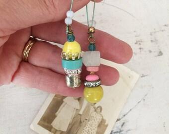 pretties~upcycled earrings, bead stack earrings, colorful earrings, dangle earrings