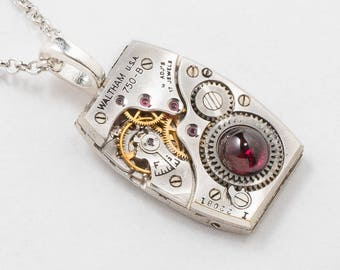 Steampunk Necklace with Vintage Waltham Watch Movement and Genuine Garnet Gemstone on Silver Rolo Chain, Unisex Pendant, Mens Jewelry Gift