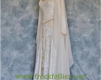 Elvish Wedding Gown,Medieval Gown,Robe Medievale,Renaissance Gown,Wedding Dress,Hand Fasting Dress,Custom Made,Robe Elfique,Hermoine