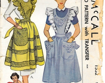 McCALL 1532 Size Large 16 18 Pinafore or Half Apron Full Ruffles Pockets Tie Embroidery Bow Ribbon Floral Transfer Vintage 1950's Pattern