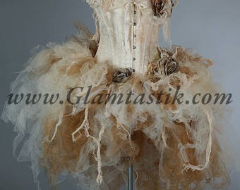 Size  XL ivory tea stained lace and Tulle High Low burlesque dress Victorian Zombie Corpse Bride Halloween costume READY to SHIP