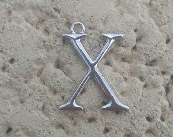 Shiny silver tone Metal Letter X charm pendant, jewelry making