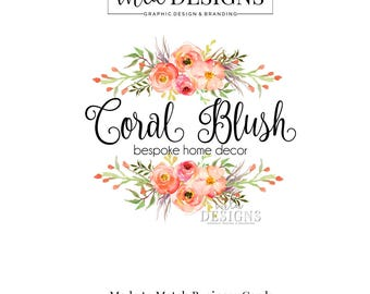 Coral Rose Logo, Rose Logo, Floral Logos, Rustic Logo, Boutique Logo, Premade Watercolor Logo, Boutique Logo, Florist Logo, Wedding Logo