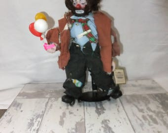 Emmett Kelly Jr Hobo Clown Doll with Balloons Stand Tag Porcelain 1992 by Simson 11 Inch Articulated Doll Collection Limited Edition