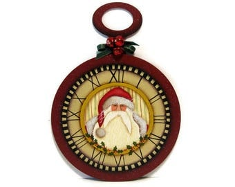 Santa and Holly on Pocket Watch Frame, Handpainted Wood Sign, Hand Painted Christmas Decor, Wall Art , Tole Decorative Painting, B3