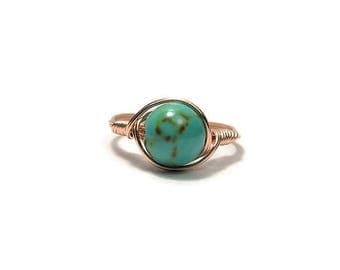 25% Off Sale LG Turquoise Magnesite 14k Rose Gold Fill Wire Wrapped Ring