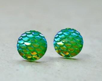 Green Mermaid Earrings, Iridescent Green Dragon Scale Earrings, Nautical Studs Whimsical Fantasy Jewelry