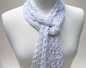 Sequined Linen Scarf/ White/ Gold Sequins