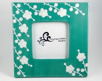 SALE - Teal with White Blossoms