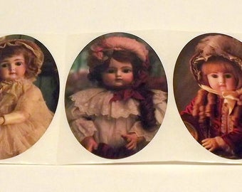 Victorian Doll Stickers Set of 5