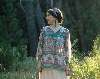 Boho Gypsy Blouse / Indian Cotton Gauze / Long Sleeve / Bohemian / Shirt / Top / Indo Western / Boho Style Shirt /
