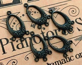 6 Neo Victorian Connectors, Black Noir, Mourning Connectors, Victorian Connectors, Matte Black Findings, Art Nouveau, USA #B185F