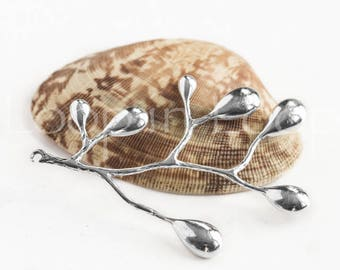 Silver Branch Link, Chandelier Earring Charm, Bohemian Leaf Pendant Teardrop Scoop Rhodium plated Brass Minimalist Branches TH241 (1pc)